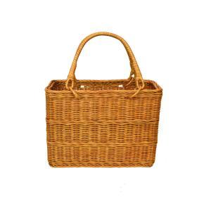 ラタンバスケット 買い物かご 角 エコバッグ 籐かご バッグ