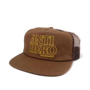 アンタイヒーロー ブラックヒーロー アウトライン トラッカー キャップ ブラウン/ゴールド メンズ 帽子|rawdrip