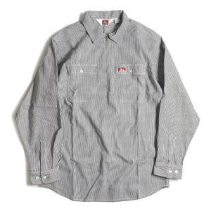 ベン デイビス ロングスリーブ ストライプ 1/2 ジップ ワーク シャツ ヒッコリー メンズ/USAモデル/長袖シャツ|rawdrip