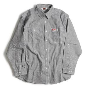ベン デイビス ロングスリーブ ストライプ ボタン アップ ワーク シャツ ヒッコリー メンズ/USAモデル/長袖シャツ|rawdrip