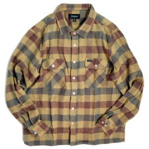 ブリクストン アーチー ロングスリーブ フランネル シャツ アルミニウム/プラム メンズ/長袖シャツ/チェック/ネルシャツ|rawdrip