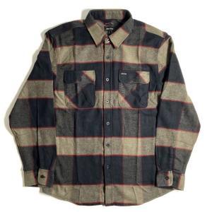 ブリクストン バワリー ロングスリーブ フランネル シャツ ヘザーグレー/チャコール メンズ/長袖シャツ/チェック/ネルシャツ|rawdrip