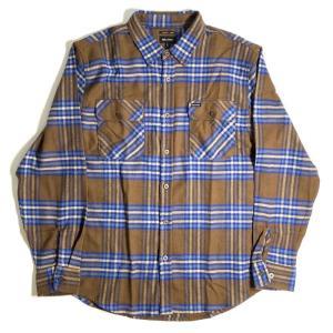 ブリクストン バワリー ロングスリーブ X フランネル シャツ ウォッシュドブラウン/ミネラルブルー メンズ/長袖シャツ/チェック/ネルシャツ|rawdrip