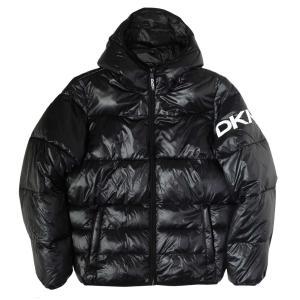 [SALE]ディーケーエヌワイ フーデッド ロゴ パフ ジャケット ブラック メンズ rawdrip