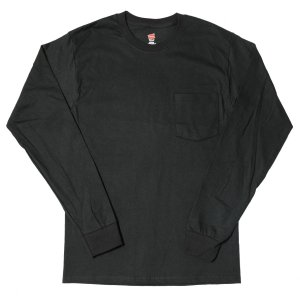ヘインズ ロングスリーブ ポケット Tシャツ ブラック rawdrip