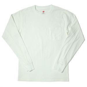 ヘインズ ロングスリーブ ポケット Tシャツ ホワイト rawdrip