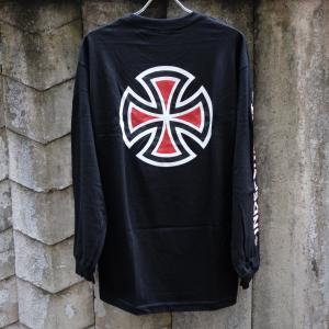 インディペンデント バー/クロス スリーブ ロングスリーブ Tシャツ ブラック|rawdrip