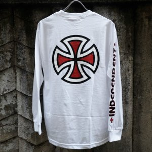 インディペンデント バー/クロス スリーブ ロングスリーブ Tシャツ ホワイト|rawdrip