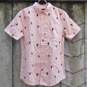 パックサン カクタイ ショート スリーブ ボタン アップ シャツ ピンク rawdrip