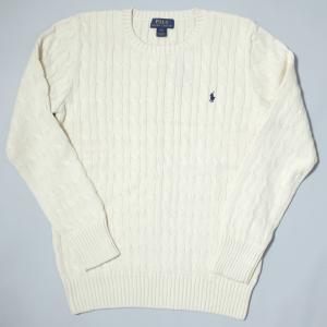 ポロ ラルフ ローレン ボーイズ ケーブル コットン ニット セーター ホワイト|rawdrip