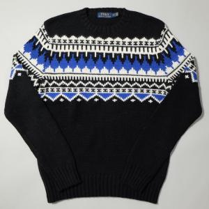 ポロ ラルフ ローレン ノルディック セーター ブラック ブルー|rawdrip
