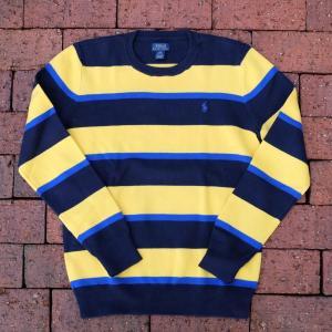 ポロ ラルフ ローレン ボーイズ ボーダー コットン セーター イエロー/ブラック/ブルー|rawdrip
