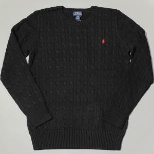 ポロ ラルフ ローレン ボーイズ ケーブル コットン ニット セーター ブラック|rawdrip