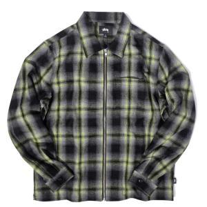 [SALE]ステューシー ガン プレイド ジップアップ ブラック メンズ/長袖シャツ|rawdrip