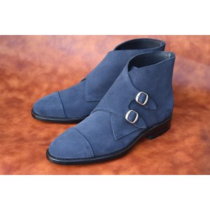 【RAYMAR】サイドダブルモンクストラップ ブーツ ネイビー Charles.F.Stead社製 スエード 使用 グッドイヤーウェルテッド 23.5cm~28.0cm レイマー|raymar-shoes