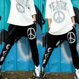 ダンス衣装 サルエルパンツ PEACE ピースロゴ ピースマーク サルエル スパッツ ストリートファッション HIPHOPダンス|rayseasons