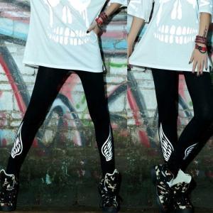 ダンス衣装 羽 翼 プリント レギンス スパッツ ストリートファッション 原宿ファッション Punk風 ロック風 ロゴ HIPHOPダンス ダンス ヒップホップ|rayseasons