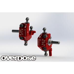 【再入荷予約】OVER DOSE OD2438 アジャスタブルアルミナックルセット Type-2(For RWD /レッド)|razikonwebshop