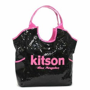 キットソン KITSON トートバッグ SEQUIN DAY BAGS KHB0266 LARGE DAY BAG BLACK & HOT PINK BK|rcmdfa