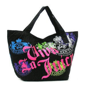 JUICYCOUTURE ジューシークチュール トートバッグ CARRY OVER CANVAS TO YHRU1487 VIVA LA JUICY TOTE BLACKMULTI BK|rcmdfa