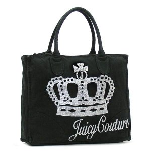 JUICYCOUTURE ジューシークチュール トートバッグ CARRY OVER CANVAS TO YHRU1709 QUEEN OF CUTURE BLACK BK|rcmdfa