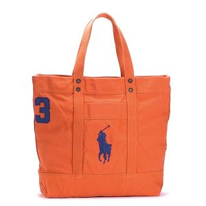ラルフローレン RALPH LAUREN トートバッグ 405532853 BIG PP TOTE BEDFORD ORANGE W/ ROYAL PP OR|rcmdfa