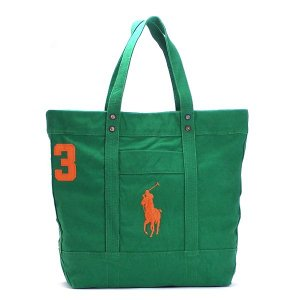 ラルフローレン RALPH LAUREN トートバッグ 405532853 BIG PP TOTE BERMUDA GREEN W/ ORANGE PP GR|rcmdfa