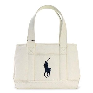 ラルフローレン RALPH LAUREN トートバッグ 959010 SCHOOL TOTE MEDIUM NATURAL CANVAS - NAVY WT|rcmdfa