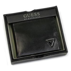 ゲス GUESS 二つ折り財布 小銭入 CRUZ YEN BILLFOLD W/COIN BLACK BK|rcmdfa