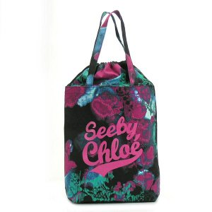 シーバイクロエ see by chloe トートバッグ see by candy 9s7116 tote shopping bag black cotton candy bk|rcmdfa