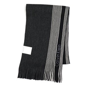 カルバン・クライン CALVIN KLEIN マフラー 77300 PIN STRIPE BLOCHED RASCHEL MUFFLER CHARCOAL/BLACK/SOFT GREY BK|rcmdfa