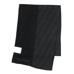 カルバン・クライン CALVIN KLEIN マフラー 77318 BLOCKED GRID LOGO MUFFLER BLACK/CHARCOAL BK/GY|rcmdfa