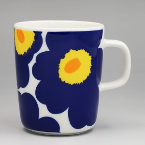 マリメッコ marimekko マグカップ 63431 MUG 2.5DL WHITE/DARK BLUE/YELLOW BL|rcmdfa