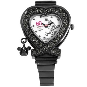 ディズニー 80周年 大人可愛い ハート型腕時計 スワロフスキー使用 レディース 1050198 ホワイト/ブラック|rcmdfa
