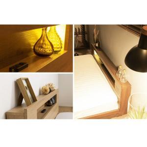 棚・コンセント・照明付きフロアベッド ダブル タクナ 照明付き すのこ板目仕様 ヘッドボード付き ローベッド フロアベッド 代引不可 rcmdhl 09