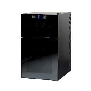 ハーフミラー式ワインセラー 2ドアタイプ 24本収納 ペルチェ方式 ライト点灯 タッチパネル 2段 代引不可|rcmdhl