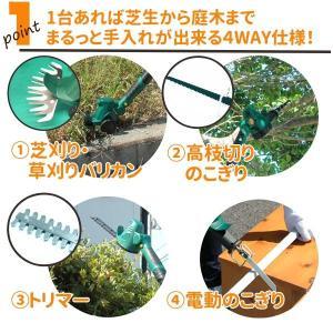 4Way コードレス ガーデントリマーセット3種類付き 軽量 ガーデニング 草刈り 補助輪付き 枝刈り 芝刈り 木工用 鉄鋼用 rcmdhl 02