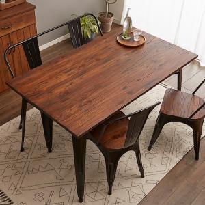 屋外使用可能 ヴィンテージ調 ダイニングテーブル 幅140cm テーブル ダイニング 食卓 木製 無垢材 インダストリアル|rcmdhl