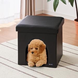 ペットハウス スツール 正方形 レザー ペット用ハウス 折りたたみ 折り畳み ペット ハウス 犬 イヌ 猫 ネコ|rcmdhl