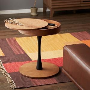オーク材使用 サイドテーブル 円形 直径40cm 木製 天板下収納 ナイトテーブル おしゃれ 便利 丸型 テーブル 収納 カフェ 代引不可|rcmdhl