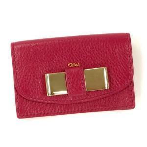 クロエ chloe カードケース lily 3p0550 business card holder with gusset peony red red/pk rcmdhl