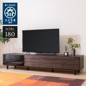 ローボード 180cm 日本製 大川家具 完成品 ヴィンテージ調 テレビ台 テレビボード TV台 TVボード AVボード AVラック 木製 代引不可|rcmdhl