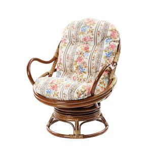 ラタン座椅子 花柄 ボタニカル柄 回転チェア チェア スツール 椅子 座椅子 アジアン エスニック 代引不可|rcmdhl
