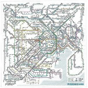東京カート 鉄道路線図ハンカチ 首都圏 日本語 RHSJ JANコード:4562339392264 ...