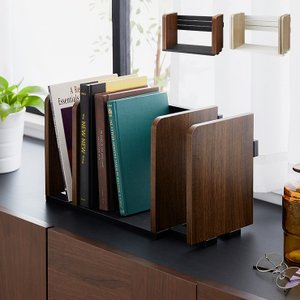 ヴィンテージ調 ブックスタンド 本立て スライド 木製 卓上 本棚 シェルフ マガジンラック スライドブックスタンド 整理 整頓 本 代引不可|rcmdin