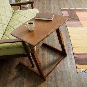 昇降式 サイドテーブル 高さ調節 昇降式 ベッドサイドテーブル パソコンデスク カフェテーブル 木製 ブラウン コンパクトデスク|rcmdin