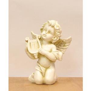 天使の置物 エンジェル ハープを持った天使 代引不可