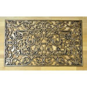 玄関マット ラバーマット リーフ ブラウン ゴム製の玄関マット 代引不可