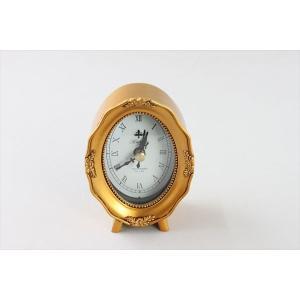 アンティークスタイル時計 アンティーク調ゴールドの小型置き時計 オーバル アンティーク調 時計 置き時計 ゴールド|rcmdin