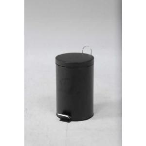 スチール ラウンドペダルペール 12L ブラック|rcmdin